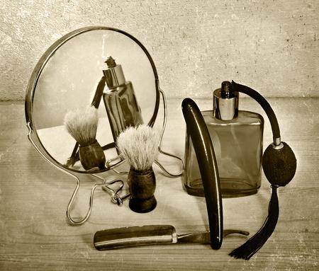 barber: Vintage accessories for shaving. Razor and shaving brush. toning Stock Photo