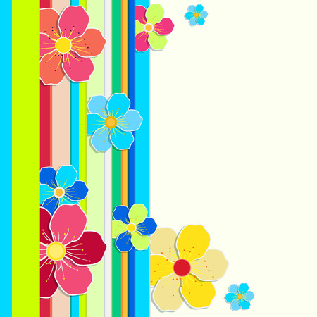 bright card: Bright card with a border of colored stripes and flowers. place for your text Illustration