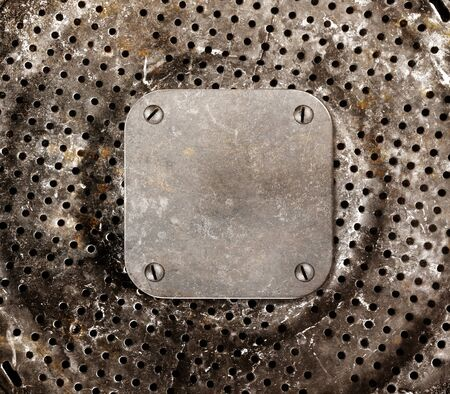 bolted: Grungy metal background. Frame with bolted to a perforated metal panel