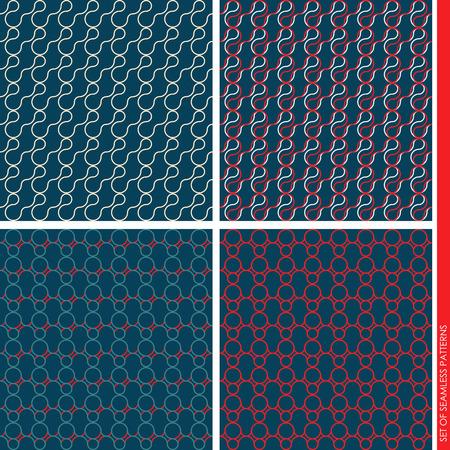 sleek: Set of seamless patterns. Simple patterns with waves and circles. sleek design