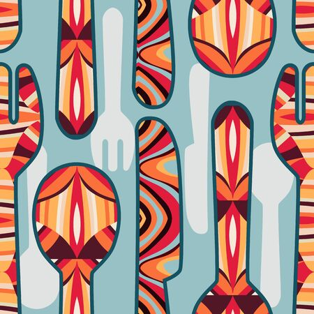 Bright seamless pattern with spoons, knives and forks with abstract ornament