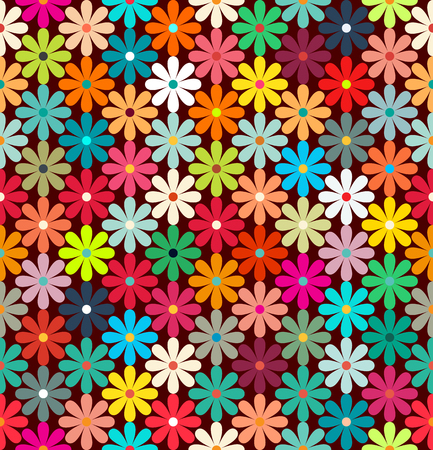 simplified: Seamless pattern of bright colorful flowers. retro colors