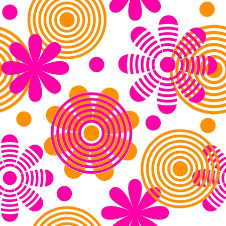 Bright seamless pattern with flowers and circles. Pink and orange simple ornament Vector