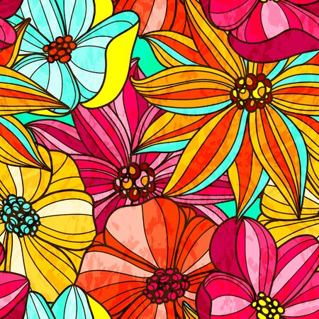 Seamless floral bright pattern. Large colorful flowers Vector