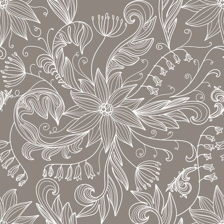 inflorescence: Seamless pattern with white flowers.  Hand Draw Illustration