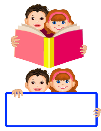 kids studying: Smiling boy and a girl holding an open book. Children read. Cute boy and girl are holding a banner. Isolate. Space for your text Illustration
