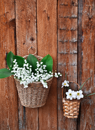 Two baskets of lilies and daffodils on a wooden background photo