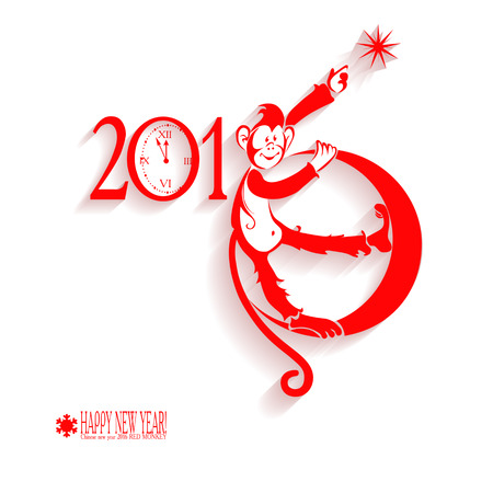 happy new year: Greeting the new year. Chinese Horoscope 2016 - Year Of The Red Fire Monkey. Flat design with shadows. Isolated on white background