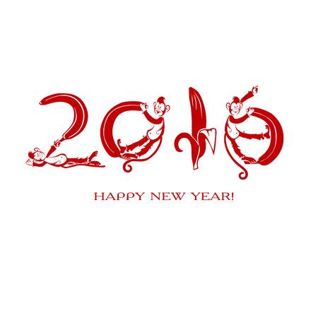 De originele kaart met een symbool van het jaar. Kleine aap met bananen. Chinese horoscoop 2016 - Jaar van de Red Fire Monkey. Geïsoleerd op witte achtergrond Stock Illustratie