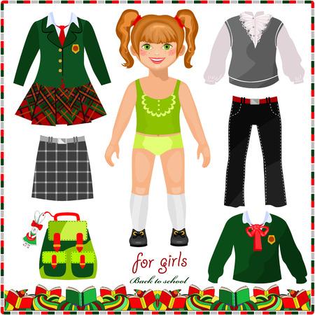 uniforme escolar: Muñeca de papel con un conjunto de ropa para la escuela. Colegiala linda. Plantilla para el corte. De vuelta a la escuela