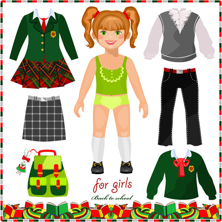 Paper doll with a set of clothes for school. Cute schoolgirl. Template for cutting. Back to school