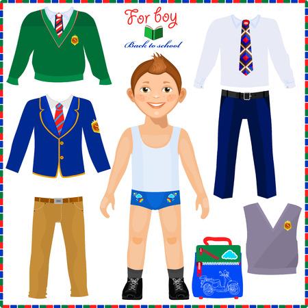 americana: Muñeca de papel con un conjunto de ropa. Estudiante lindo chico. Plantilla para el corte. De vuelta a la escuela. Vectores