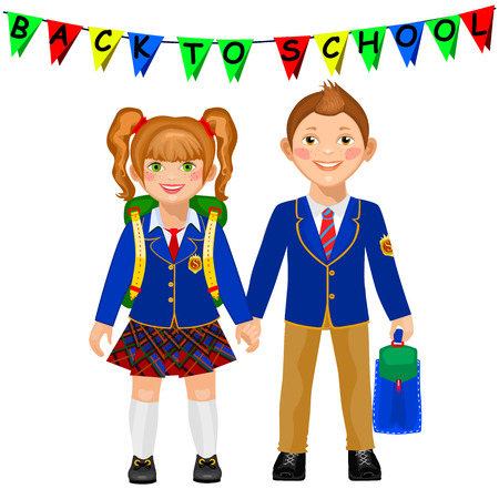 school uniform: Boy and girl in a school uniform holding hand. Children go to school. Cute smiling students. Back to school. Isolated on white background