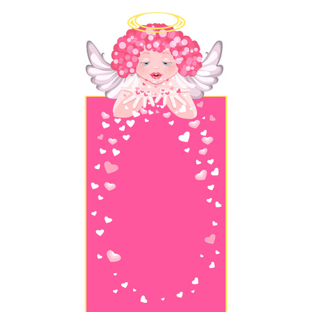 scatters: Cute angel scatters hearts. Fluttering hearts. Greetings Valentines Day