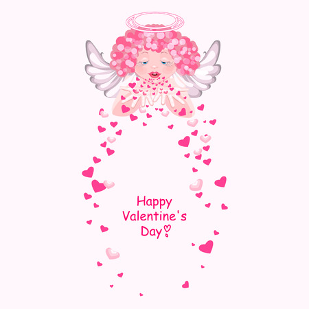 scatters: Cute angel scatters hearts. Fluttering hearts. Greetings Valentines Day. Isolated on white background