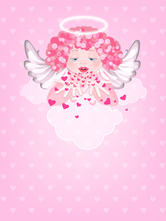halo: Angel with a halo over his head blows off the hearts from their hands. Cute little angel on a cloud.  Greeting Card Valentines Day Illustration