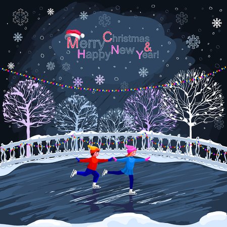 rink: Kids are skating. Urban winter landscape. Boy and girl skating on the rink. New Year. Christmas card. Happy New Year and Merry Christmas. Illustration