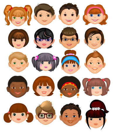 blonde hair cartoon: Collection of individual boys and girls with different hairstyles and accessories. Male and female faces. Vector set. Isolated on white background