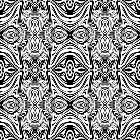 endless repeat structure: Black and white seamless background with abstract waves