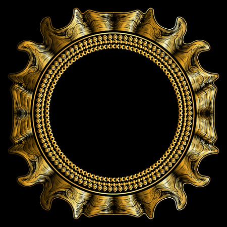 golden frame: Luxury golden round frame. Gold frame on a black background
