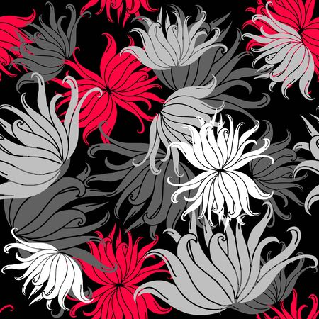 white blossom: Seamless pattern of bright colorful flowers. The pattern of stylized chrysanthemums