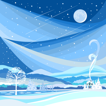 starfall: Winter landscape. Flat design. Night landscape with the moon and Starfall