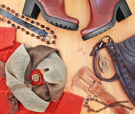 Fashionable women's clothing and accessories. Red-brown tone