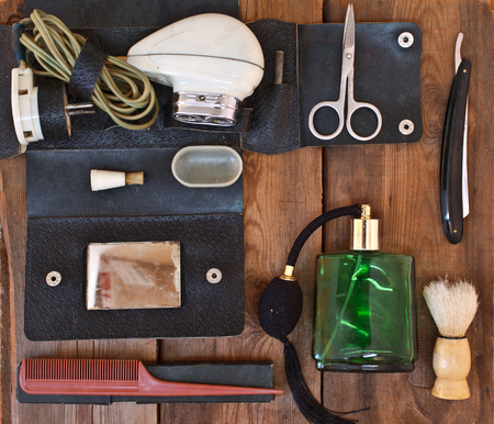 hairdressing accessories: Male shaving accessories. Hairdressing accessories. Retro concept.