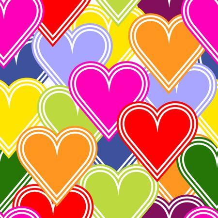 corazones azules: Patrón sin fisuras con corazones de colores Vectores