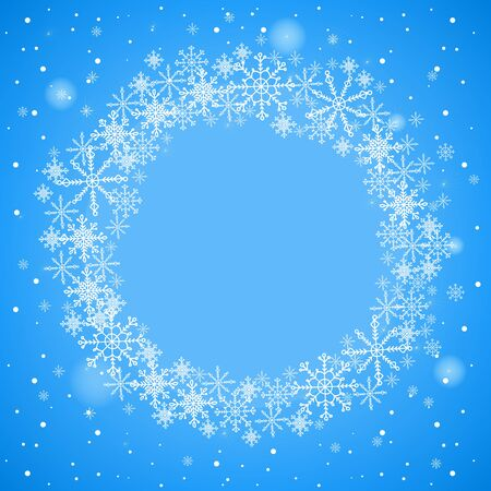 round border: Christmas frame with snowflakes. Round frame on a blue background