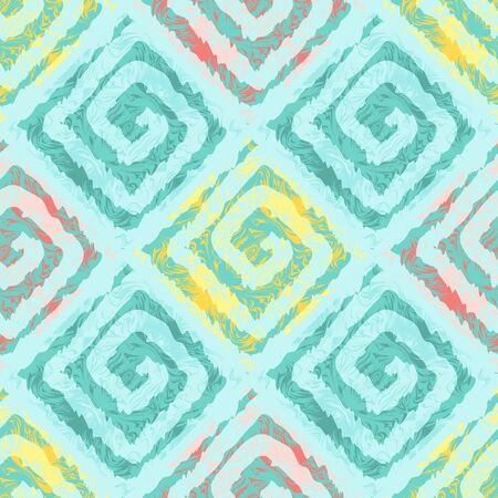 pastel colors: Abstract seamless pattern with squares in ethnic style. The pattern in pastel colors. Transparent watercolor effect