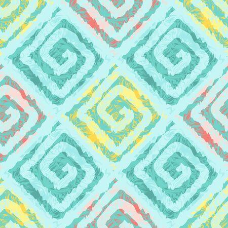 colores pastel: Resumen patrón sin fisuras con los cuadrados de estilo étnico. El patrón en colores pastel. Efecto de transparencia de la acuarela