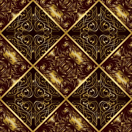 gold ornament: Gold seamless pattern. Luxurious ornament tile Illustration