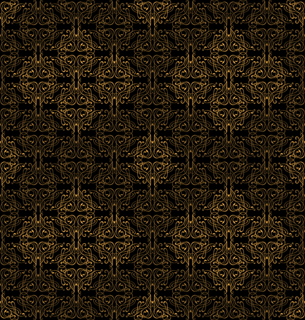 Seamless pattern with ornate floral ornaments. Royal vintage wallpaper black background