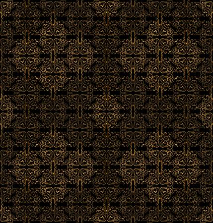 royal black wallpaper: Seamless pattern with ornate floral ornaments. Royal vintage wallpaper black background