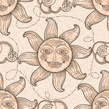 engravings: Seamless pattern with sun and clouds. Hand drawing. Imitation of old engravings