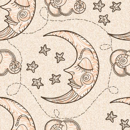 月と雲とのシームレスなパターン。 手描き。古い彫刻の模倣