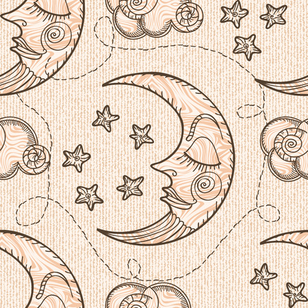Seamless pattern with moon and clouds.  Hand drawing. Imitation of old engravings