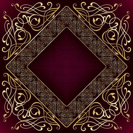 square frame: Luxury square gold frame Illustration