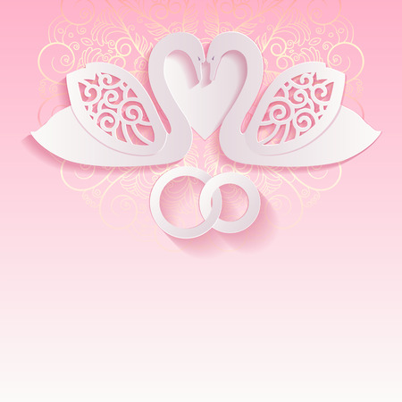 Pink wedding card with swans and intertwined wedding rings. A beautiful invitation for your wedding day. Swans cut from paper, 3d effect. Çizim
