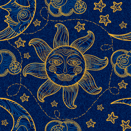 Seamless pattern with sun, moon and clouds. Hand drawing. Imitation of old engravings Vettoriali