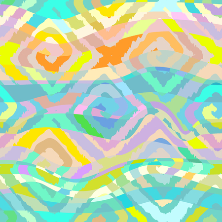 pastel colors: Seamless pattern with squares in ethnic style. The pattern in pastel colors. Abstract waves