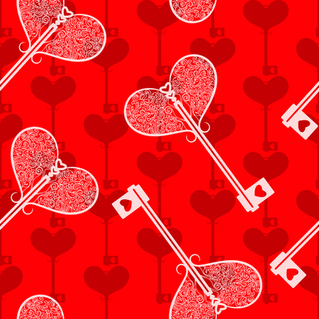 openwork: Seamless background with keys and hearts. Beautiful red pattern with openwork keys Illustration