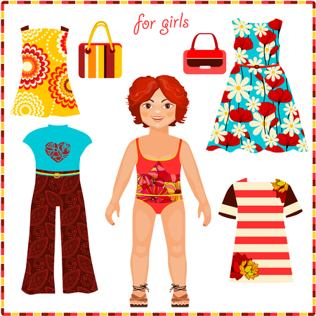 paper dresses: Paper doll with a set of fashion clothes. Cute girl. Template for cutting. Summer Collection