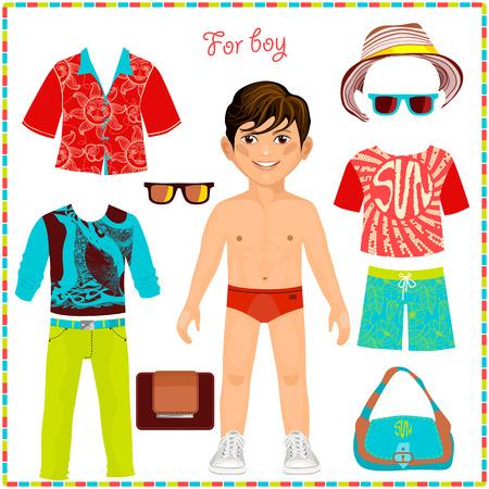 ファッショナブルな衣料品のセットで紙人形。かわいいおしゃれな少年。切削のテンプレートです。夏コレクション