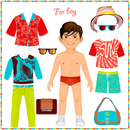 dolls: Paper doll with a set of fashionable clothing. Cute trendy boy. Template for cutting. Summer Collection