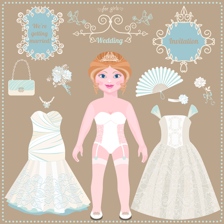 Paper doll. Wedding dresses and accessories. Ideas for wedding invitations. Lovely bride. Template for cutting. Çizim