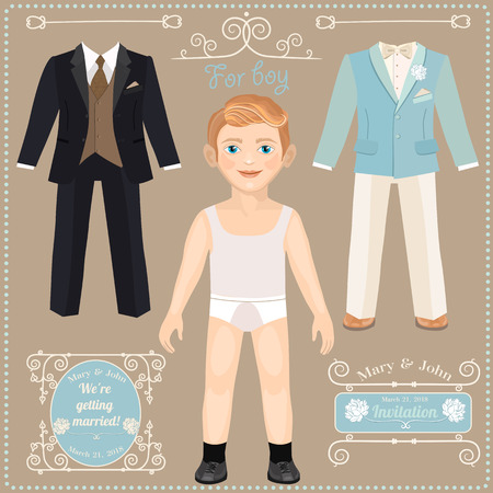 paper dolls: Paper doll with a set of clothes. Wedding dresses for the bride. Cute trendy boy. Template for cutting.