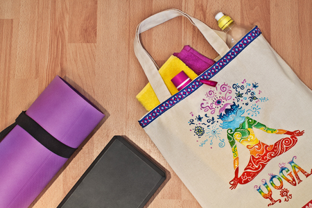 fabric bag: Lifestyle - Yoga. Yoga mat bag and hand-painted. Accessories for yoga