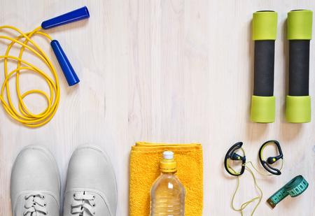 Accessoires voor fitnesslessen. Sportconcept.